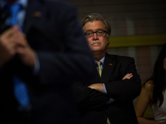 Steve Bannon, the campaign's chief executive, watches