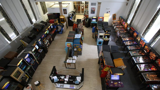 Morristown Game Vault, a classic arcade that opened last week on South Street in the former PNC Bank with close to 80 pinball machines and video games from the 1970s through the 90's. March 16, 2016. Morristown, N.J.