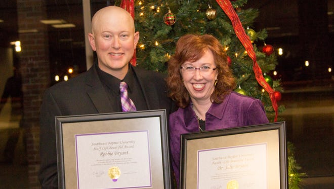 Robbie Bryant, MEP maintenance supervisor, and his wife, Dr. Julie Bryant, associate professor of education, received the Staff and Faculty Life Beautiful Awards