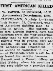 Notice of Thomas Winch Barrett's death in the July 4, 1917, Wilmington Morning News.