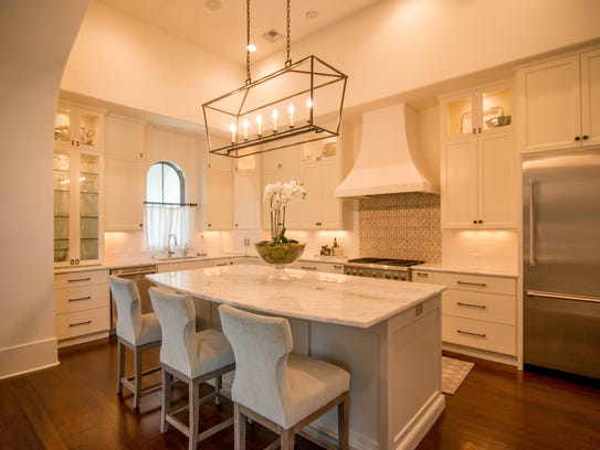The gourmet kitchen is a beautiful focal point in the