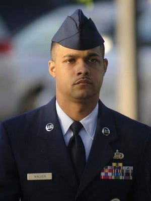 Air Force Staff Sgt. Luis Walker arrives for the fourth day of his trial on July 20, 2012, at Lackland Air Force Base in San Antonio, Texas. Walker was sentenced to 20 years after he was found guilty of rape, sexual assault and other related charges.