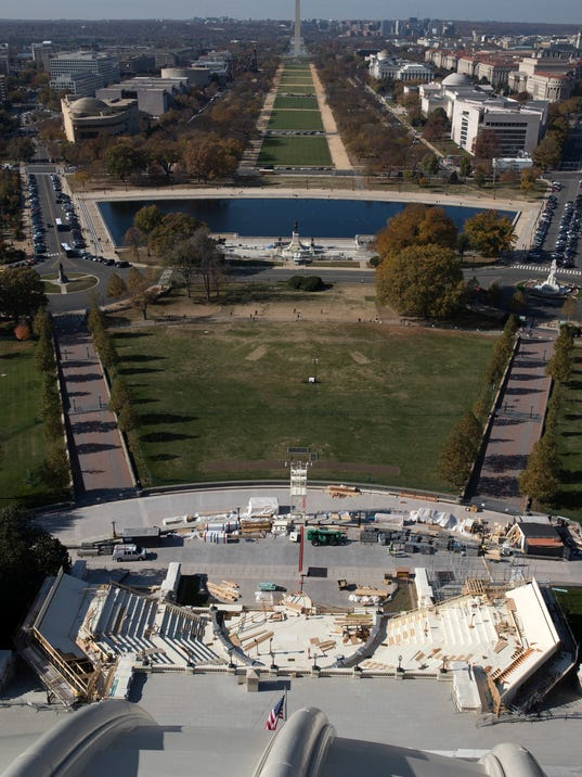 The stage for President-elect Donald Trump's inauguration is under construction, on the west side of the Capitol Building in Washington.