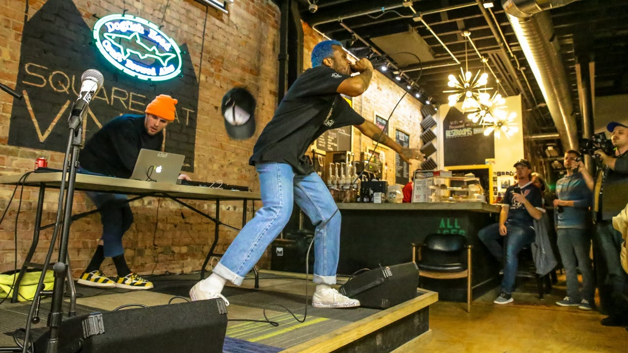 """Flaco performs """"Neon Yellow"""" on the Feb. 15, 2018, episode of """"Dogfish Head Brewery presents IndyStar Sessions at Square Cat Vinyl."""""""