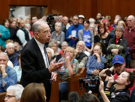 Sen. Chuck Grassley answers a questions from the audience