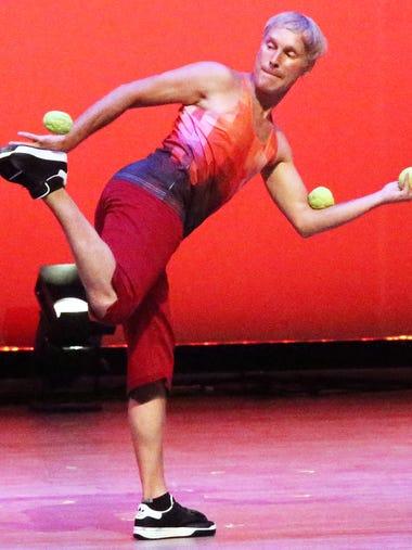 Peter Irish, master juggler with the foot bag performs