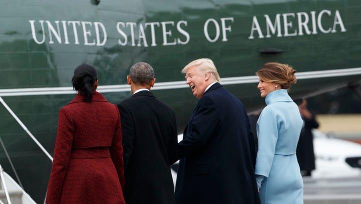 President Trump and first lady Melania Trump walk former