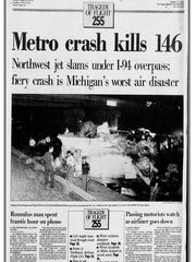 Front page of the Detroit Free Press on Aug. 17, 1987, the day after the deadly crash of Northwest Airlines Flight 255.