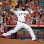 Los Angeles Angels starter Matt Shoemaker (52) delivers a a pitch against the against the Minnesota Twins at Angel Stadium of Anaheim.