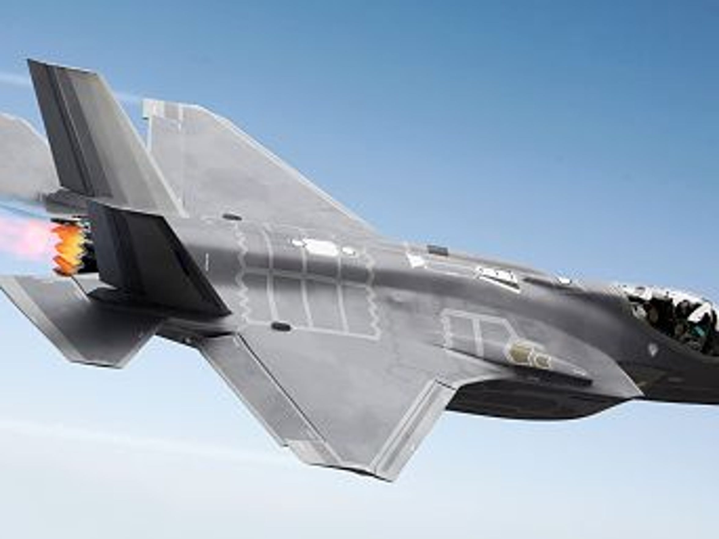F35 Fighter jet at supersonic speeds.