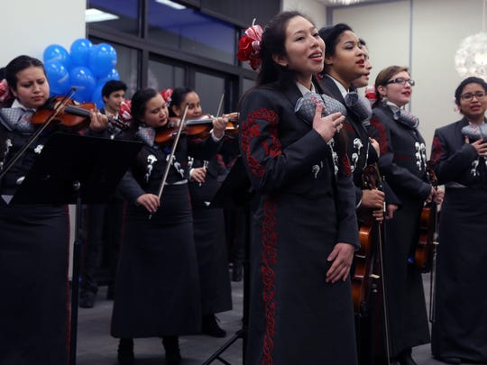 The Glencliff High School mariachi band performs at Will Pinkston's school board re-election campaign kickoff party on Thursday at Casa Azafran.