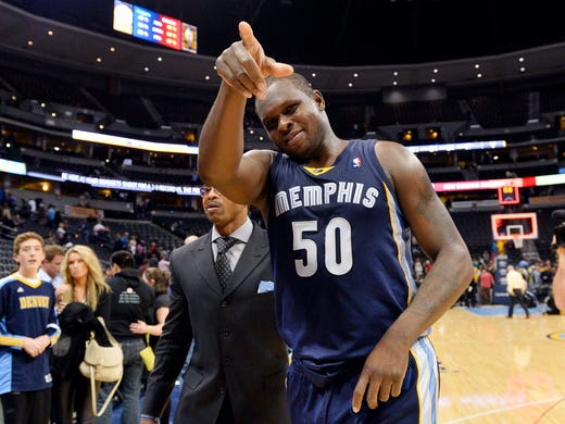 Memphis Grizzlies forward Zach Randolph points to the