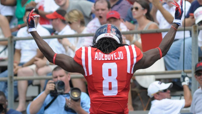 Wide receiver Quincy Adeboyejo (8) celebrates after scoring a touchdown against the UT-Martin last fall. He's expected to take a larger role in Ole Miss' offense this season.