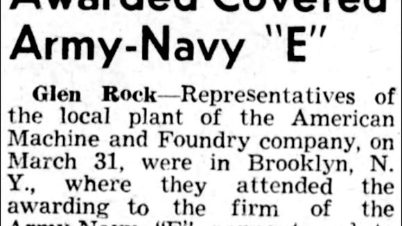 Headline and first paragraph from article in The Gazette and Daily of April 12, 1945
