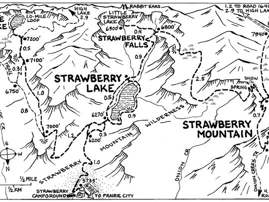 A map of Strawberry Lake area