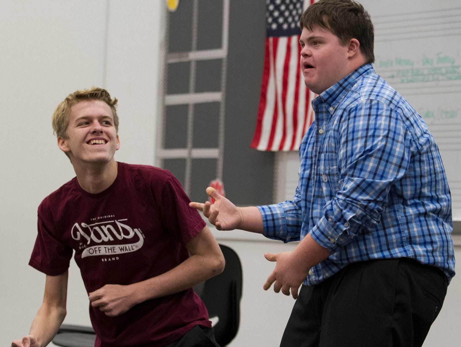 Christian Diggs, right, and classmate Logan Schweitzer perform a rap song together during an improvisation class at Ida Baker High School in Cape Coral on Tuesday, Oct. 11.