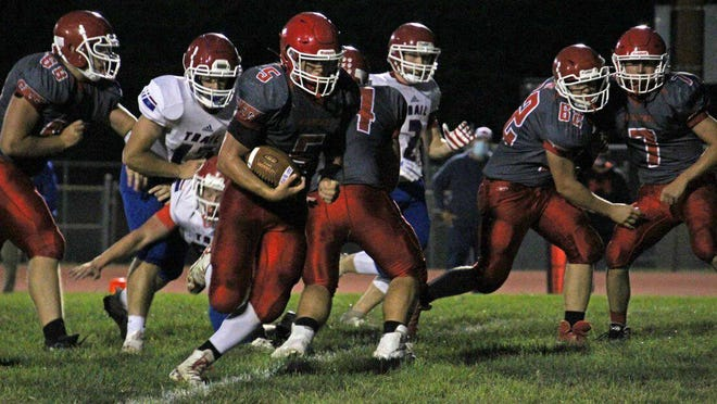 After rushing for 736 yards and seven touchdowns last season, Braden Sloyer (5) has nearly matched that production in Burlington's 4-0 start -- its best in more than two decades. Sloyer has 613 yards rushing and seven touchdowns this season.