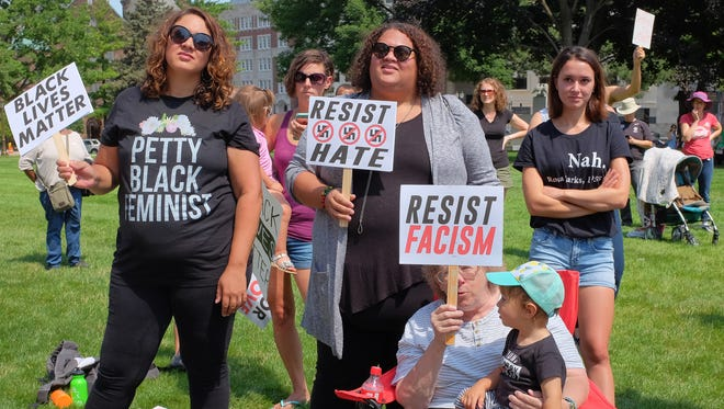 People attend a Black Lives Matter rally at the state Capitol Saturday, Aug.  19, 2017. About 300 people attended the rally with no counter demonstrators.