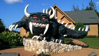 The Rhinelander Hodag looms in front of the Rhinelander Chamber of Commerce.
