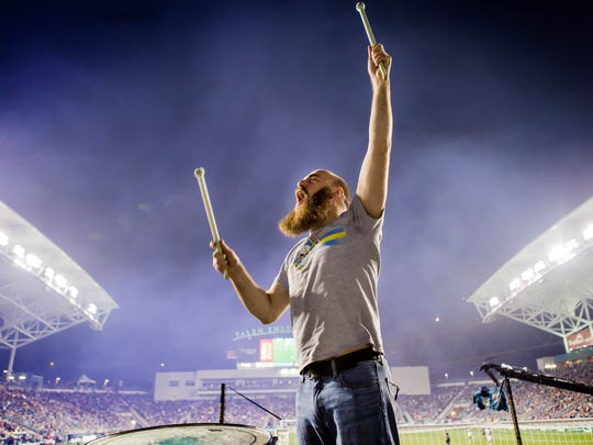 Sons of Ben drummer Trevor Machinia pumps up supporters during an MLS game between the Philadelphia Union and LA Galaxy at Talen Energy Stadium in Chester, Pa. on Wednesday night