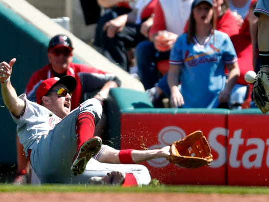 Cincinnati Reds right fielder Patrick Kivlehan in action during the first inning of a baseball game Saturday, April 8, 2017, in St. Louis.