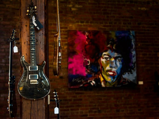 Guitars at Elite Music in downtown Montgomery, Ala.