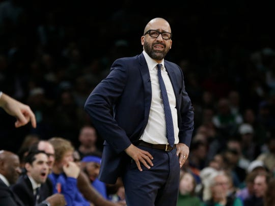 New York Knicks coach David Fizdale watches from the bench during the first quarter of the team's NBA basketball game against the Boston Celtics, Thursday, Dec. 6, 2018, in Boston. (AP Photo/Elise Amendola)