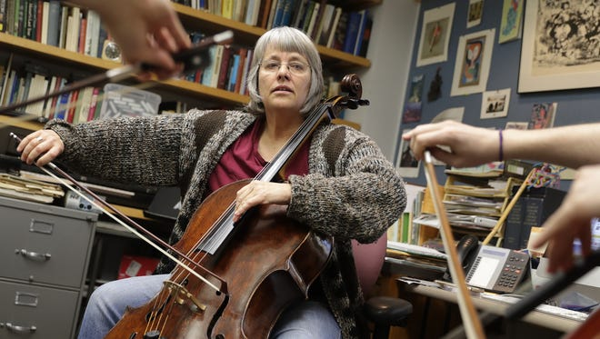 Janet Anthony, the George and Marjorie Olsen Chandler Professor of Music at Lawrence University, teaches a first year technique course Tuesday in Appleton.