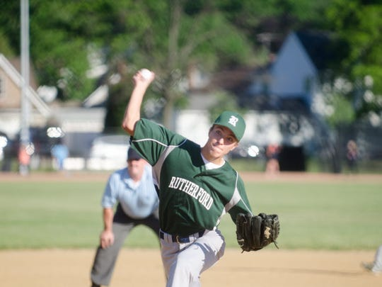 One of many teams utilizing Memorial Park, Rutherford's Nick Feliciana on the mound during a Babe Ruth game against Bergenfield in June 2016.