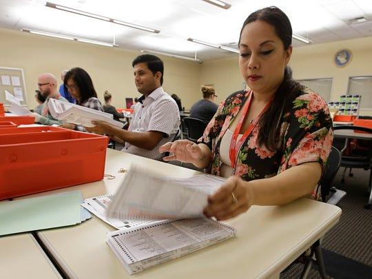 Bianca Savola, an election clerk at the Sacramento
