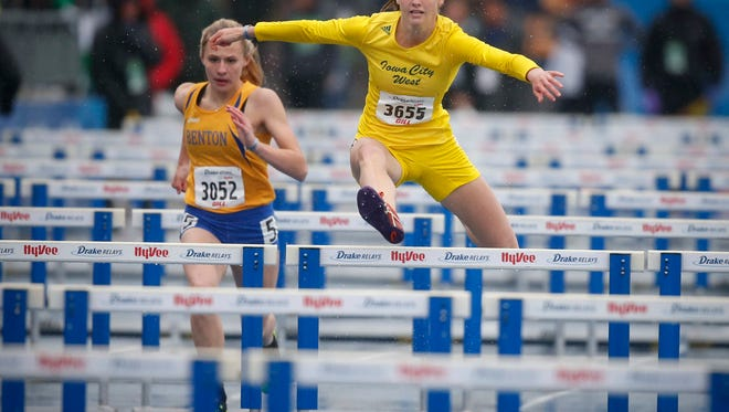Iowa City West senior Valerie Welch won the 100-meter hurdles event during the Drake Relays on Friday, April 28, 2017, at Drake Stadium in Des Moines.