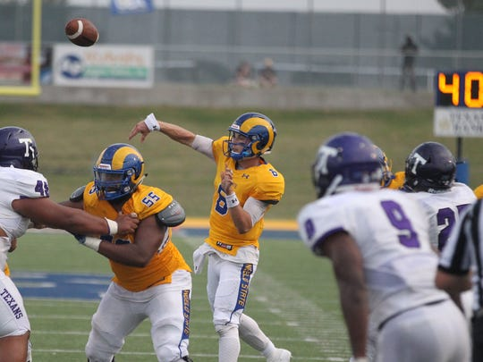Angelo State University sophomore quarterback Charlie Rotherham (6) got his first career start against Tarleton State in the Lone Star Conference opener. The Texans held off the Rams 30-24 at LeGrand Stadium at 1st Community Credit Union Field on Saturday, Sept. 16, 2017.