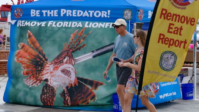 Visitors to the Lionfish Removal & Awareness Day Festival and Tournament glance at the side of a educational and outreach booth for the Florida Fish & Wildlife Conservation Commission that works to educate people about the threat to our local marine environments from Lionfish.