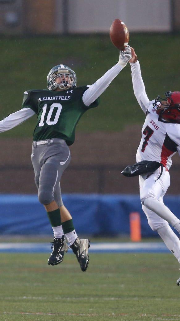 Pleasantville's Danny Melillo (10) intercepts a pass