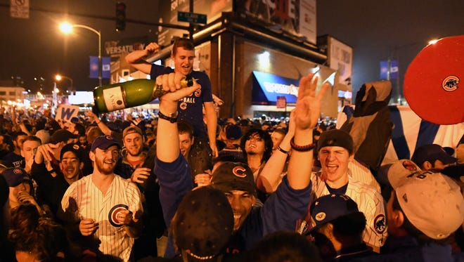 Cubs fans celebrate the World Series title.