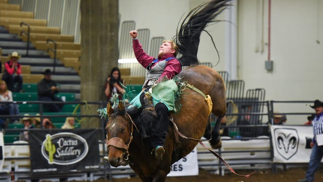 Senior Cache Hill of the University of Providence took seventh place overall in the bareback competition at the College National Finals Rodeo in Casper, Wyo., which wrapped up Saturday night.