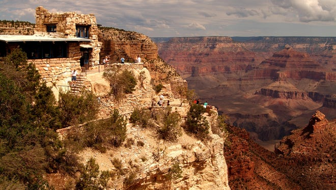 Lookout Studio, a historic century-old structure near Grand Canyon Village on the South Rim of the Grand Canyon in Arizona.