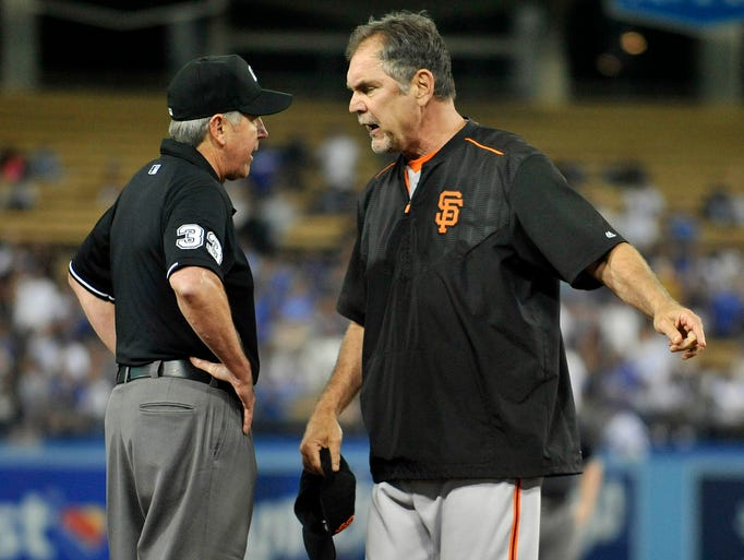 Sept. 2: Giants manager Bruce Bochy argues a call with