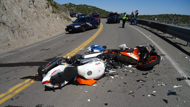 A submitted photo of the motorcycle left shattered on Gieger Grade Saturday.