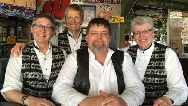 Page Four Band members are, left to right: Nancy Johnston, Anne Abel, Mark Hintz, and Sharon Vollendorf.
