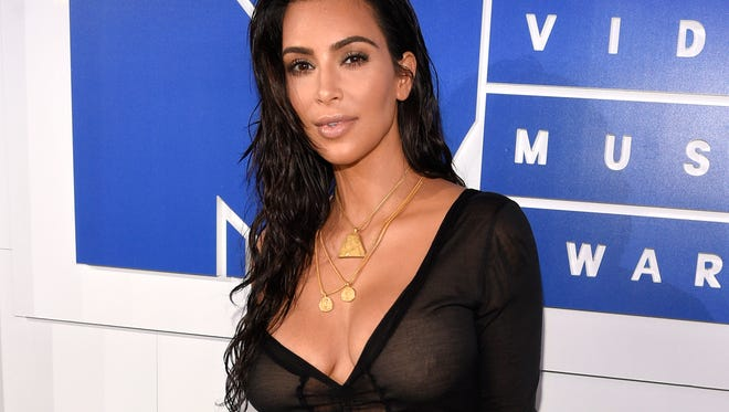 Kim Kardashian arrives at the MTV Video Music Awards in New York.