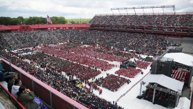 Rutgers' 250th Commencement with President Barack Obama as the keynote speaker on May 15, 2016.