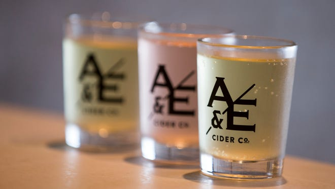 Three different ciders being offered at Ash & Elm, a new cider shop in the 2100 block of East Washington Street, Indianapolis, Wednesday, June 22, 2016.