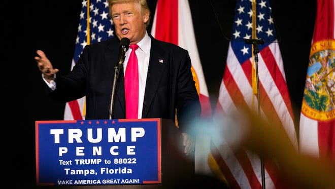 Republican presidential nominee Donald Trump speaks at a campaign rally at the Florida State Fairgrounds on Wednesday, Aug. 24, 2016, in Tampa. Trump spoke about a variety of issues including jobs, immigration, national security, trade and Hillary Clinton at the event.
