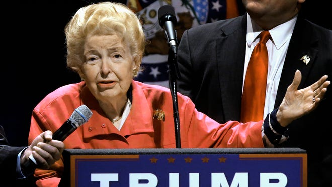 In this March 11, 2016, file photo, longtime conservative activist Phyllis Schlafly endorses Republican presidential candidate Donald Trump before Trump begins speaking at a campaign rally in St. Louis. Schlafly, who helped defeat the Equal Rights Amendment in the 1970s and founded the Eagle Forum political group, has died at age 92. The Eagle Forum announced her death in a statement Monday, Sept. 5, 2016. (AP Photo/Seth Perlman, file)