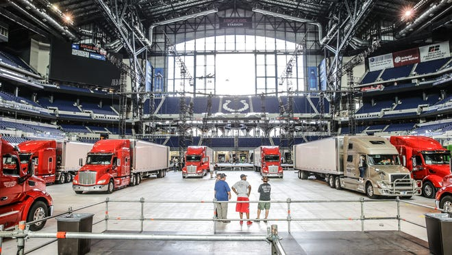 Crews set up U2's massive Joshua Tree Tour 2017 stage inside Lucas Oil Stadium in Indianapolis on Saturday, Sept. 9, 2017.