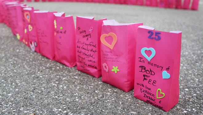 Pink bags honoring loved ones form a ribbon near the start of a 5K walk or run for the 2015 Susan G. Komen Race for the Cure at Coconut Point mall.