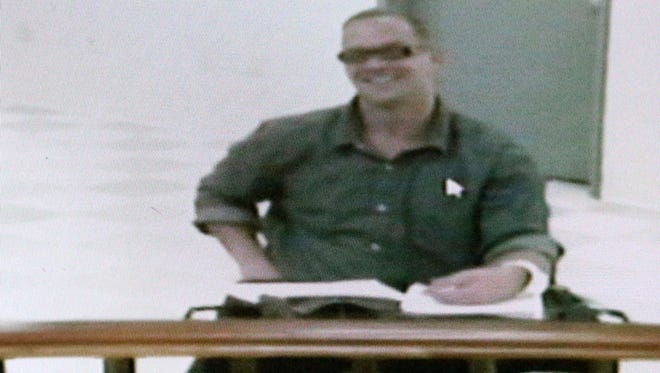 Nevada death row inmate Scott Dozier appears in a Las Vegas court via video on Wednesday, Nov. 8, 2017, days before his scheduled execution. From the state prison in Ely, where he is scheduled to be executed on Tuesday, Dozier, 46, told Clark County District Court Judge Jennifer Togliatti one last time that he wants his death sentence carried out. (Michael Quine/Las Vegas Review-Journal)