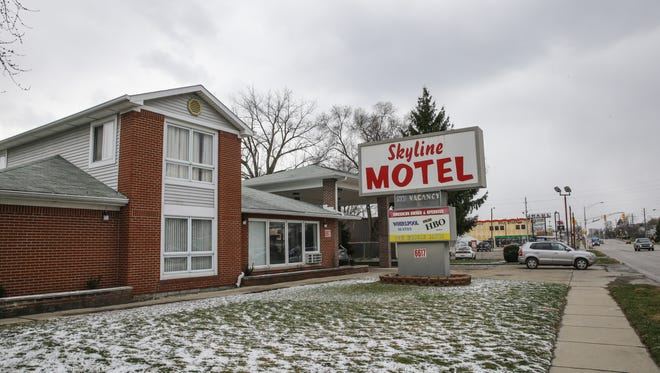Skyline Motel located at 6617 E. Washington St. in Indianapolis on Wednesday, March 8, 2018. Recently a City-County Council proposal would put hotel licenses at risk at properties that have received more than 2.5 police and fire runs per room, per year, but the owner and residents of the Skyline Motel say many of the runs are medical for longtime residents in ill health.