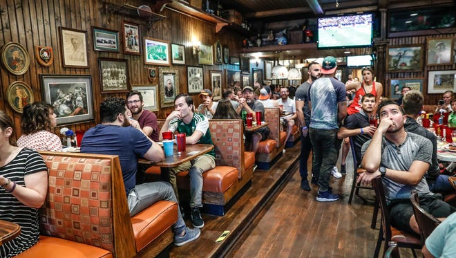 Soccer fans watch the World Cup final match during a World Cup watch party at Union Jack Pub in Broad Ripple Ind. on Sunday, July 15, 2018. France defeated Croatia, four goals to two to win the World Cup.